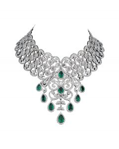 Silver Necklace with green diamond